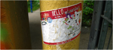 Hello my name is... . nativeartscouts . Mini Wiesbaden 2013 . Sticker . 2013.10